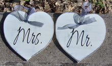 Load image into Gallery viewer, Wedding Mr. Mrs. Hearts Farmhouse Distressed Wood Signs Vinyl Bride Goom Wedding Gift Wedding Shower Giftware Chair Hanger Wedding Decor - Heartfelt Giver
