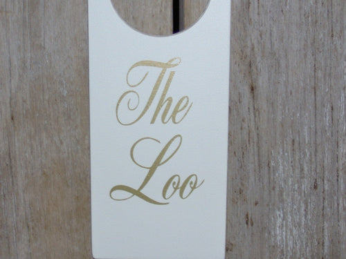 The Loo Door Knob Hanger Wood Vinyl Signs For Bathroom Powder Room Modern Retro Style Design Cottage Chic Interior Home Business Door Decor - Heartfelt Giver