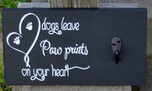 Load image into Gallery viewer, Dog Leash Holder Sign Collar Wall Hanger Dog Leaves Paw Prints Hearts Wood Vinyl Sign Pet Supplies Dog Decor Dog Lover New Dog Mom Gift Art