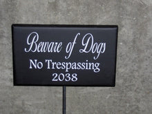 Load image into Gallery viewer, Beware Of Dogs No Trespassing Wood Vinyl Stake Rod Sign House Number Address Porch Yard Garden Private Residence Do Not Disturb USA Made - Heartfelt Giver