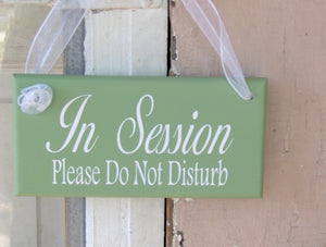 In Session Sign Please Do Not Disturb Wood Vinyl Sign - Heartfelt Giver