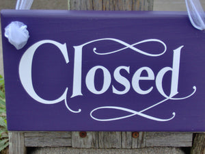 Open Closed Two Sided Wood Vinyl Sign Custom Business Signs For Doors Office Supplies Front Door Decor
