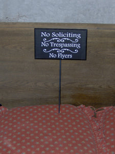 No Soliciting No Trespassing No Flyers Wood Vinyl Metal Stake Yard Sign Garden Decor Porch Sign Home Sign Business Office Sign Yard Decor - Heartfelt Giver