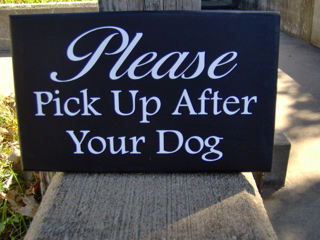 Please Pick Up After Dog Wood Vinyl Front Yard Signs Personalized Dog Poop Sign Keep Off Lawn Decor For Home Exterior House Plaque Quality - Heartfelt Giver