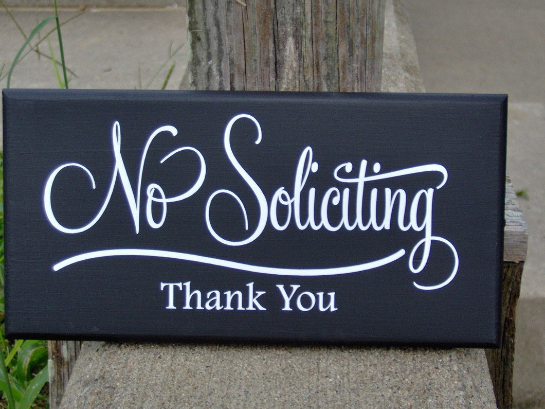 No Soliciting Sign Thank You Wood Vinyl Sign Retro Modern Art Everyday Garden Yard Decoration Private Property