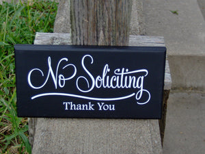 No Soliciting Sign Thank You Wood Vinyl Sign Retro Modern Art Everyday Garden Yard Decoration Private Property - Heartfelt Giver