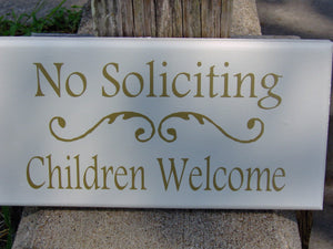 No Soliciting Children Welcome Wood Sign Vinyl Home Entry Door Decor Sign Porch Girl Scouts Boy Scouts Outdoor Sign Gold Word Art Yard Sign
