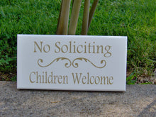 Load image into Gallery viewer, No Soliciting Children Welcome Wood Sign Vinyl Home Entry Door Decor Sign Porch Girl Scouts Boy Scouts Outdoor Sign Gold Word Art Yard Sign