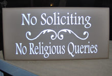 Load image into Gallery viewer, No Soliciting No Religious Queries Swirl Design Wood Vinyl Sign Home Business Decor Office Door Sign House Fence Garden Yard Do Not Disturb