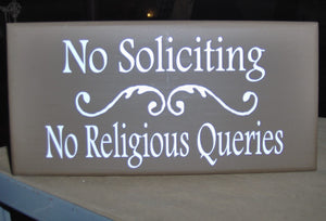 No Soliciting No Religious Queries Swirl Design Wood Vinyl Sign Home Business Decor Office Door Sign House Fence Garden Yard Do Not Disturb