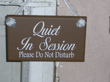 Load image into Gallery viewer, Quiet In Session Please Do Not Disturb Wood Vinyl Sign Bath Beauty Massag Treatment Salon Spa Hair Business Therapy Doctor Door Wall Hanging - Heartfelt Giver