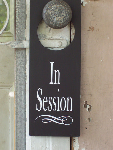 Door Knob Hanger In Session Wood Vinyl Sign Supplies for Office Businesses or Homes