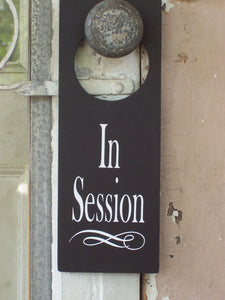 In Session Door Knob Hanger Wood Vinyl Sign Supplies for Office Businesses Decor - Heartfelt Giver