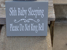 Load image into Gallery viewer, Shh Baby Sleeping Please Do Not Ring Bell Wood Vinyl Sign New Mom Babies Twins Infant Nursery Child Boy Girl Kid Dad Parent Shower Gift
