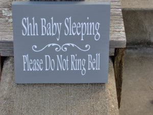 Shh Baby Sleeping Please Do Not Ring Bell Wood Vinyl Sign New Mom Babies Twins Infant Nursery Child Boy Girl Kid Dad Parent Shower Gift