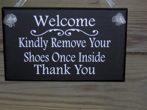 Welcome Kindly Remove Your Shoes Once Inside Thank You Wood Sign Vinyl Home Decor  Door Wall Porch Hanger Keep Clean Manners Take Off Shoes