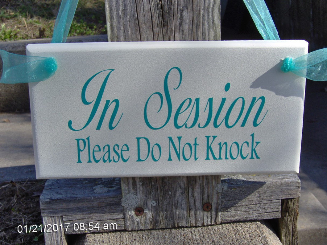 In Session Please Do Not Knock Wood Vinyl Sign Door Hanger Therapy Doctor Beauty Hair Salon Spa Massage Quiet Please Wait Office Supply