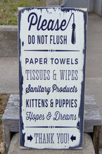 Load image into Gallery viewer, Please Do Not Flush Toilet Paper Only Bathroom Farmhouse Distressed Wood Vinyl Sign Restroom Washroom  Home Decor Restaurant Business Supply