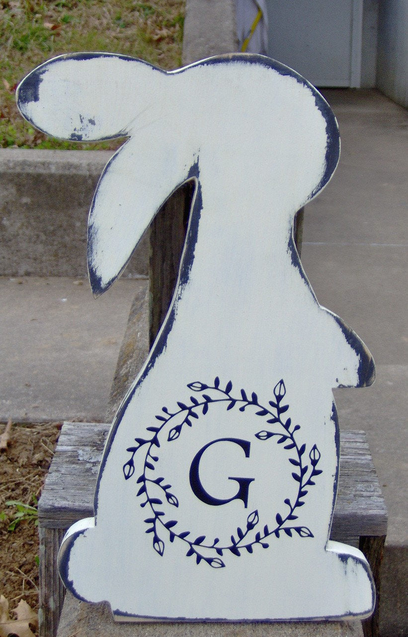 Bunny Rabbit Easter Farmhouse Distressed Initial Monogram In Vine Wreath Wood Vinyl Sign Door Hanger