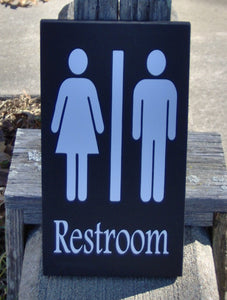 Bathroom Sign Restroom Sign Wood Vinyl Sign Unisex Men Women Ladies Gentlemen Washroom Sign Business Sign Office Supply Powder Room Door