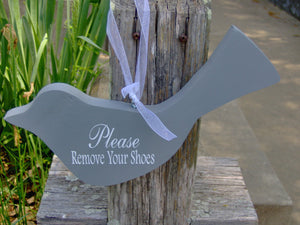 Bird Cutout Please Remove Your Shoes Wood Vinyl Sign Wreath Door Hanger Home Decor Ornament Shabby Cottage Chic Grey Take Off Shoes Sign - Heartfelt Giver