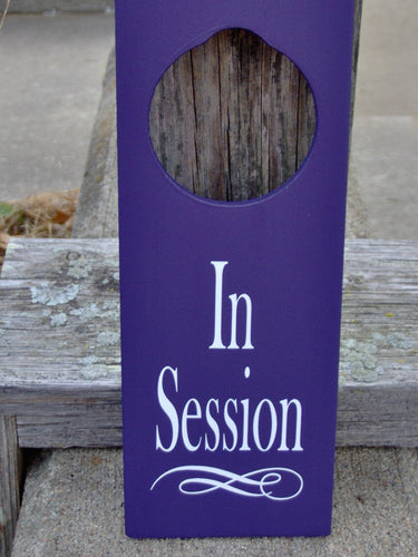 In Session Door Knob Hanger Wood Vinyl Sign Office Spa Salon Massage Therapy Business Supplies Decor Notice Message Modern Fabulous Purple - Heartfelt Giver