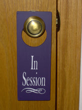 Load image into Gallery viewer, In Session Door Knob Hanger Wood Vinyl Sign Office Spa Salon Massage Therapy Business Supplies Decor Notice Message Modern Fabulous Purple