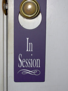In Session Door Knob Hanger Wood Vinyl Sign Office Spa Salon Massage Therapy Business Supplies Decor Notice Message Modern Fabulous Purple