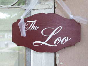 The Loo Wood Vinyl Bathroom Sign Restroom Sign Powder Room Sign Bath WC English Rustic Red Door Hanger Door Sign Door Decor Home Decor Signs