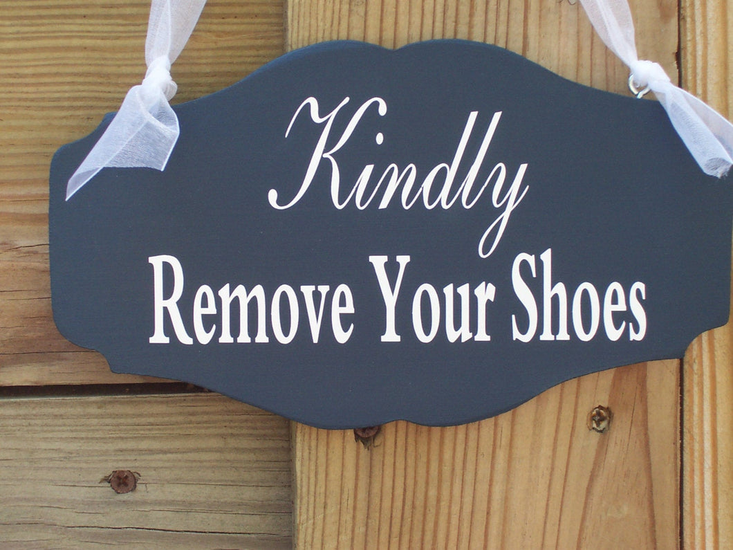 Kindly Remove Shoes Wood Vinyl Sign Decorative Designed Signage - Heartfelt Giver