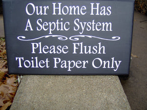 Home Septic System Please Flush Toilet Paper Only Wood Vinyl Sign Bath Sign Bathroom Wall Sign Housewarming Gift New Home Gift Wall Decor - Heartfelt Giver