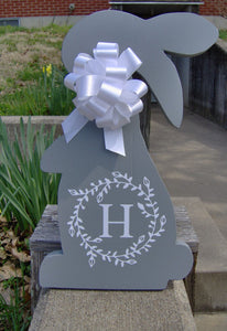 Bunny Rabbit Easter Farmhouse Country Initial Monogram Vine Wreath Wood Vinyl Sign Door Hanger Spring Wreath Decor Wooden Cut Out Sign Gray