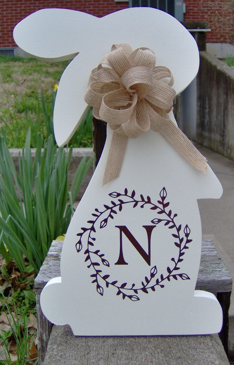 Bunny Rabbit Easter Farmhouse Hare Initial Monogram Vine Wreath Wood Vinyl Sign Door Hanger Spring Wreath Decor Wooden Cut Out Sign Family