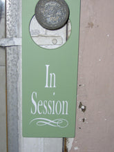 Load image into Gallery viewer, In Session Door Knob Wood Vinyl Sign Unique Business Gifts Home Office Supplies