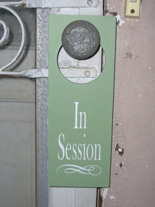 In Session Door Knob Wood Vinyl Sign Unique Business Gifts Home Office Supplies