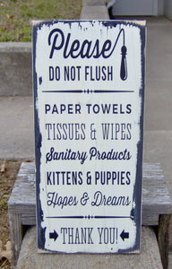 Please Do Not Flush Toilet Paper Only Bathroom Farmhouse Distressed Wood Vinyl Sign Restroom Washroom  Home Decor Restaurant Business Supply - Heartfelt Giver