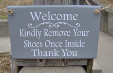 Load image into Gallery viewer, Welcome Kindly Remove Shoes Once Inside Thank You Wood Vinyl Signs For Homes and Businesses