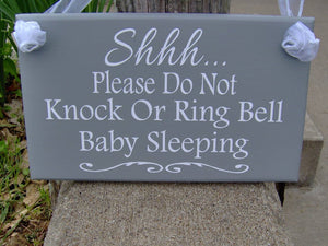 Please Do Not Knock Or Ring Bell Baby Sleeping Wood Sign Vinyl Home Decor Door Hanger Babies Infants New Mom Mother's Day Gift For Her Signs