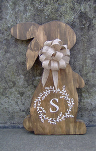 Spring Bunny Rabbit Easter Wood Vinyl Sign Door Hanger - Heartfelt Giver