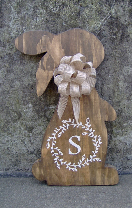 Bunny Rabbit Easter Farmhouse Country Initial Monogram In Vine Wreath Wood Vinyl Sign Door Hanger Spring Wreath Decor Wooden Cut Out Sign