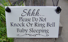 Load image into Gallery viewer, Please Do Not Knock Ring Bell Baby Sleeping Wood Sign Vinyl Front Door Decor Mother To Be Baby Wall Decor Wall Hanging Decor Shower Gift Art