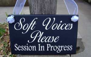 Soft Voices Please Session In Progress Wood Vinyl Sign Massage Spa Salon Beauty Hair Therapy Doctor Quiet Kindly Business Office Supply Sign