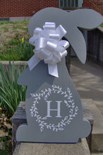 Load image into Gallery viewer, Bunny Rabbit Easter Farmhouse Country Initial Monogram Vine Wreath Wood Vinyl Sign Door Hanger Spring Wreath Decor Wooden Cut Out Sign Gray