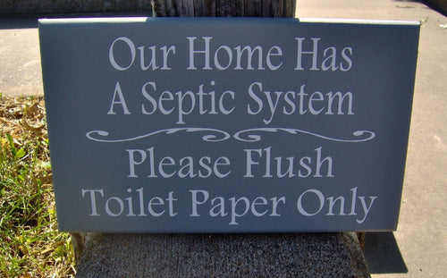 Bathroom Sign Home Septic System Please Flush Toilet Paper Only Loo Restroom Guest Farmhouse Wood Vinyl Sign Bathroom Wall Decor Powder Room - Heartfelt Giver
