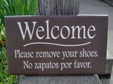 Load image into Gallery viewer, Sign Welcome Please Remove Shoes No Zapatos Por Favor Wood Vinyl English Spanish Wood Signs For Home Decor Sign Door Hanger Private Sign