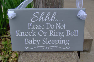 Please Do Not Knock Or Ring Bell Baby Sleeping Wood Sign Vinyl Home Decor Door Hanger Babies Infants New Mom Mother's Day Gift For Her Signs - Heartfelt Giver