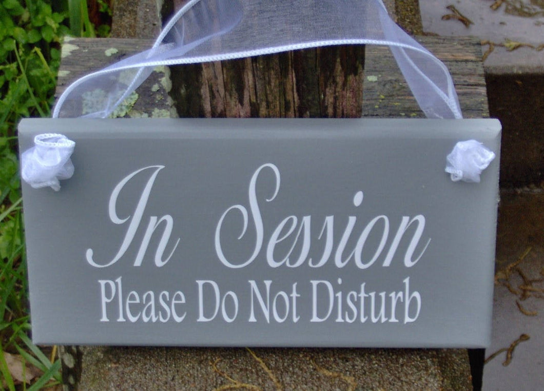 In Session Please Do Not Disturb Wood Vinyl Sign Door Hanger Therapy Doctor Beauty Hair Salon Spa Massage Quiet Please Wait Office Supply - Heartfelt Giver