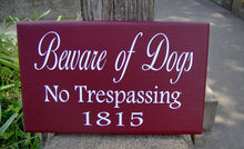Load image into Gallery viewer, Beware Of Dogs No Trespassing House Number Vinyl Wood Sign Address Sign Porch Sign Yard Outdoor  Garden Sign Private Residence Property Red