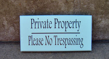Load image into Gallery viewer, Private Property Please No Trespassing Wood Vinyl Sign Seafoam Beach Cottage Home Wall Entry Door Hanger Porch Decor Sign Private Residence