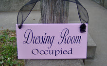 Load image into Gallery viewer, Dressing Room Vacant Occupied Wood Sign Vinyl 2 Sided Sign Business Office Decor Office Supply Sign Door Hanger Pink Boutique Salon Spa Sign - Heartfelt Giver